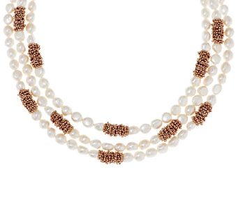 "Honora Cultured Pearl 8.0mm Multi-strand 18"" Bronze Necklace - J295892"
