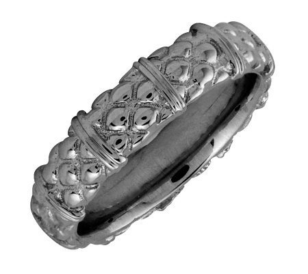 Simply Stacks Sterling Black Rhodium-Plated Texture 4.25mmRing