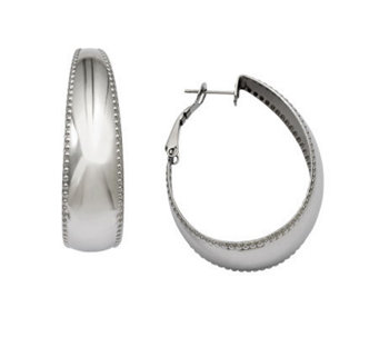 Stainless Steel Polished with Textured Edge Oval Hoop Earring - J308292