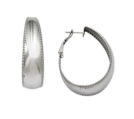 Stainless Steel Polished with Textured Edge Oval Hoop Earring