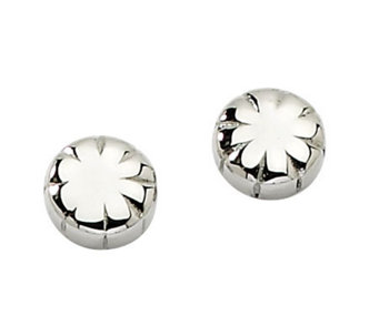 Stainless Steel Polished Floral Stud Earrings - J311892