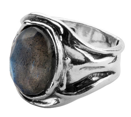 Or Paz Sterling Oval Labradorite Ring