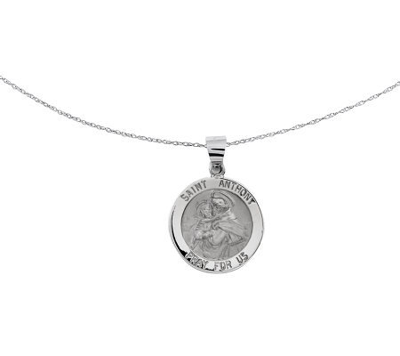 "Polished Saint Anthony Pendant w/ 18"" Chain, 14K White Gold"