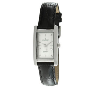 Peugeot Women's Silvertone Black Leather StrapWatch - J313492