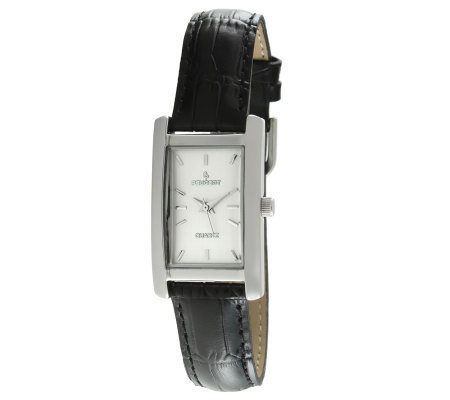 Peugeot Women's Silvertone Black Leather StrapWatch