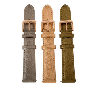 Bronze Set of 3 Leather Watch Straps byBronzo Italia - J313892