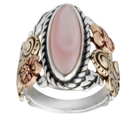 American West Sterling Mother-of-Pearl Tri-Color Floral Ring