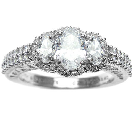 Judith Ripka Sterling Diamonique Oval Halo Ring