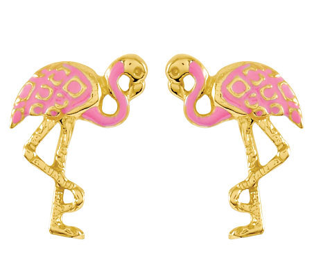 Pink Flamingo Stud Earrings, 14K Gold