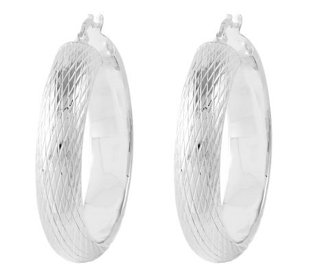"Sterling 1-1/4"" Polished & Textured Round HoopEarrings"