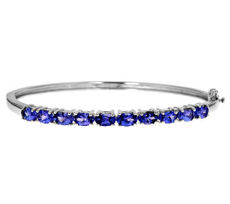 Sterling Silver 4.25 ct tw Tanzanite Hinged Bangle