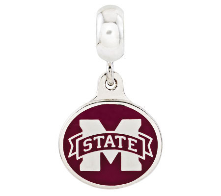 Sterling Silver Mississippi State University Dangle Bead