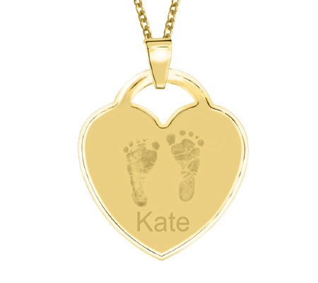 24K Gold Plated Sterling Footprint Heart Pendant w/ Chain