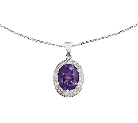 "Sterling Faceted Oval Gemstone Pendant with 18"" Chain"