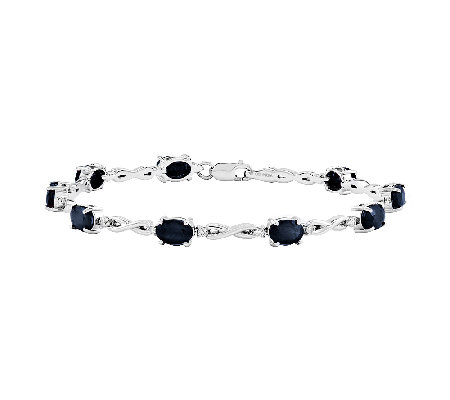 "7"" Gemstone 1/4 cttw Diamond Infinity Bracelet, 14K White Gold"