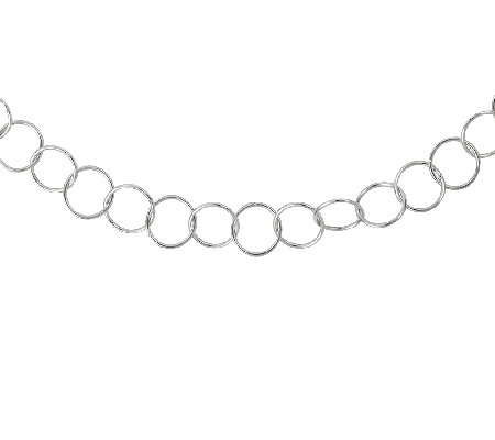 "Sterling 42"" Polished Circle Link Necklace"