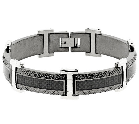 Men's Black Stainless Steel & Carbon Fiber Textured Bracelet