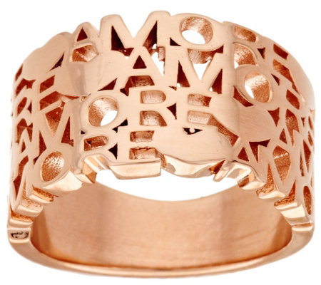 "Bronzo Italia Polished ""Amore"" Tapered Band Ring"