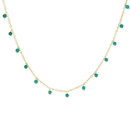 "Vicenza Gold 18"" Gemstone Bead Dangle Necklace, 14K"