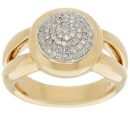 14K Gold 1/4 cttw Round Pave Diamond Ring