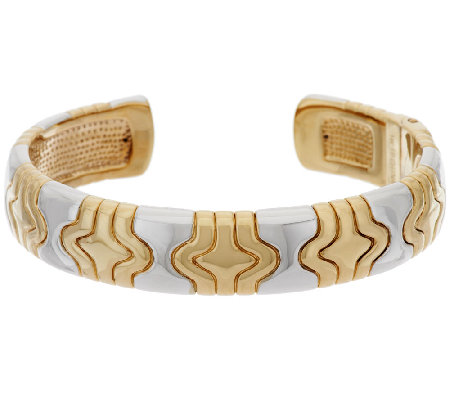 14K Gold Small Two-Tone Status Design Hinged Cuff
