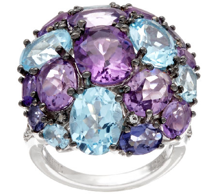 Graziela Gems Sterling Silver Multi-Gemstone Cluster Ring, 13.50 ct tw
