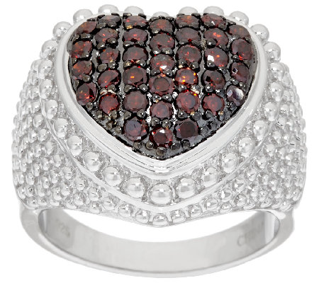 Bold Textured Domed Heart Diamond Ring, Sterling 8/10ct tw, by Affinity