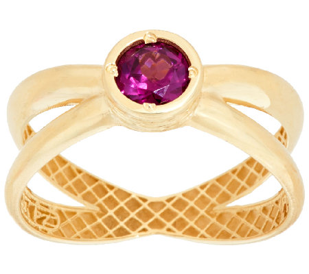 14K Gold Polished Gemstone X-Design Ring