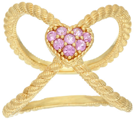 Judith Ripka Sterling & 14K Clad Pink Sapphire Heart X Ring