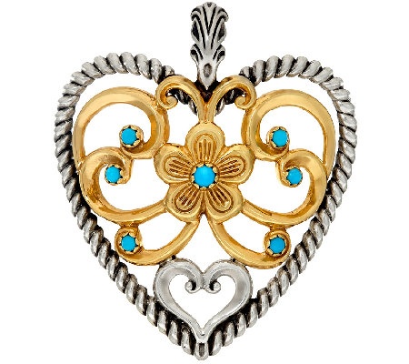 Sterling/Brass Turquoise Bold Heart Enhancer by American West