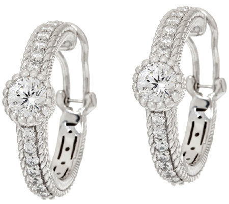 Judith Ripka Sterling Diamonique 2.75 cttw Hoop Earrings
