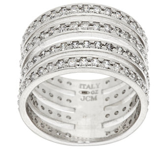 """As Is"" Vicenza Silver Sterling Diamonique 4-Row Band Ring - J324492"