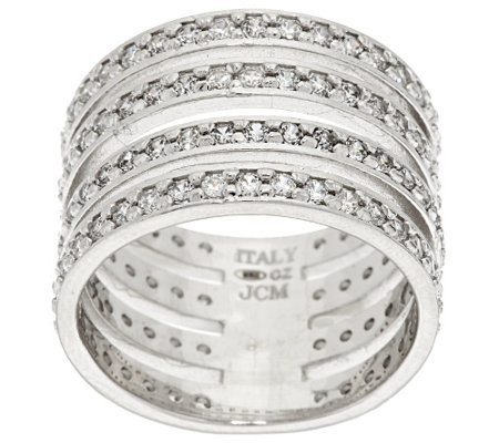 """As Is"" Vicenza Silver Sterling Diamonique 4-Row Band Ring"