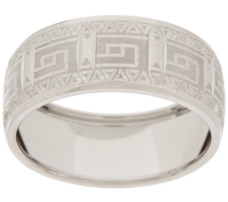 """As Is"" 14K Gold Polished Greek Key Design Band Ring"