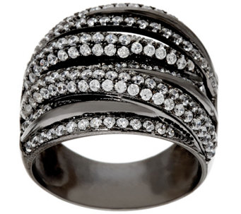 """As Is"" Vicenza Silver Sterling 1.80 cttw Diamonique Crossover Ring - J326292"