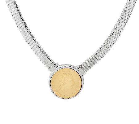 "Vicenza Silver Sterling 20"" Lire Coin Tubogas Necklace, 40.0g"