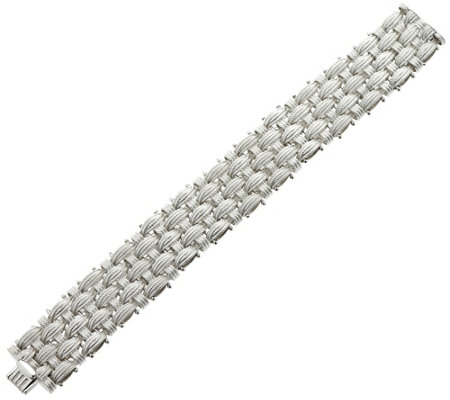 "Vicenza Silver Sterling 6-3/4"" Textured Woven Bracelet, 51.8g"