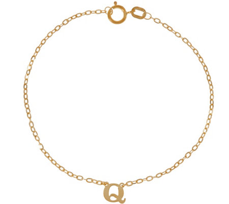 Vicenza Gold Polished Initial Bracelet 14K Gold