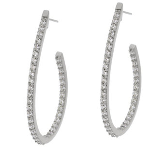 "Diamonique 1.45 cttw Oval Hoop 1-1/2"" Earrings Sterling - J330592"