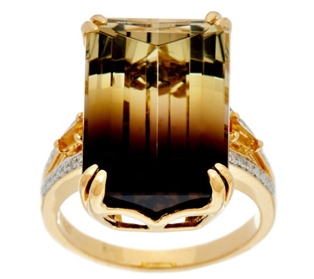 Emerald Cut Bi-Color Quartz Sterling/14K Ring, 14.00 ct