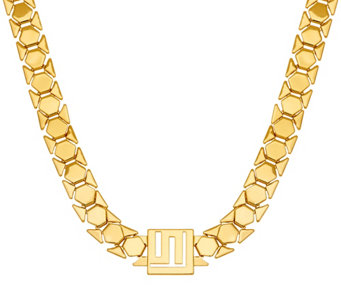 """As Is"" Stella Valle Goldtone or Silvertone Logo Chain Necklace - J331092"