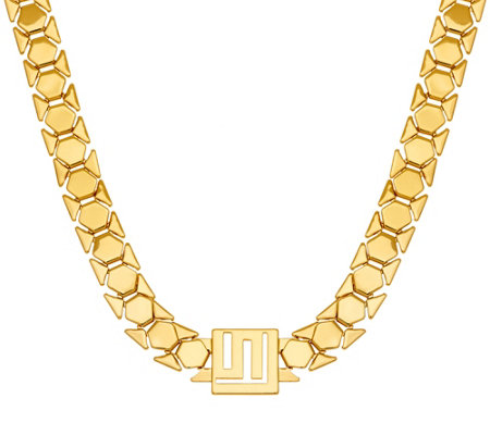 """As Is"" Stella Valle Goldtone or Silvertone Logo Chain Necklace"