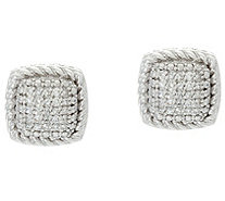 Cushion Shaped Stud Earrings, Sterling, 1/7 cttw, by Affinity - J331592