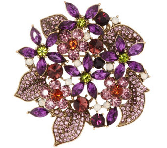 """As Is"" Joan Rivers Crystal Fantasy Floral Bouquet Brooch - J332192"
