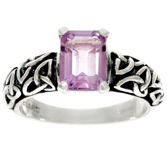 """As Is"" Solvar Sterling Silver Gemstone Trinity Knot Ring - J332492"