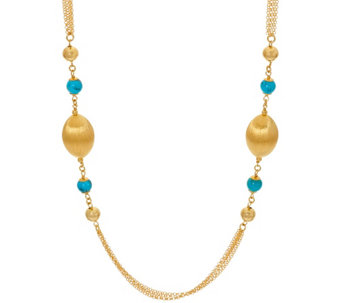 """As Is"" Veronese 18K Clad 16"" Satin & Gemstone StationNecklace - J333192"