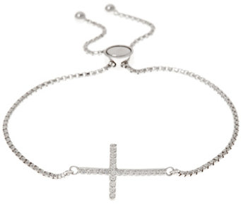 Diamonique Adjustable Cross Bracelet, Sterling - J333792