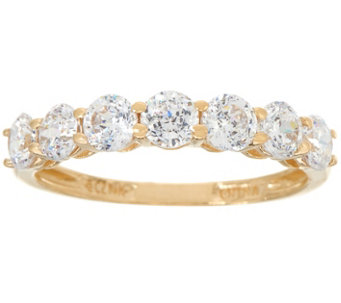 diamonique 7stone band ring 14k gold j334692