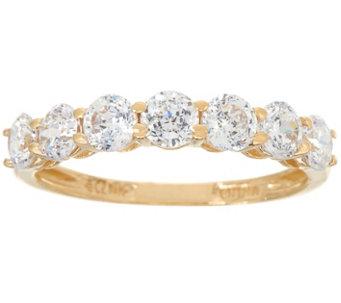 diamonique 7 stone band ring 14k gold j334692 - Qvc Wedding Rings