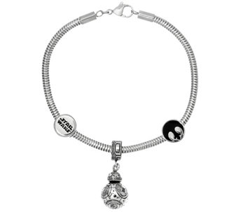 """As Is"" Star Wars Stainless Steel Character Charm Bracelet - J334992"
